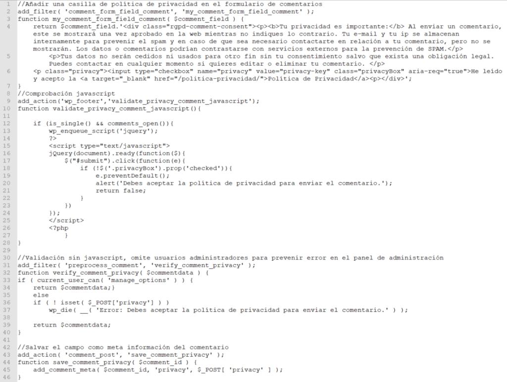 Código para añadir texto y casilla de política de privacidad en los comentarios.