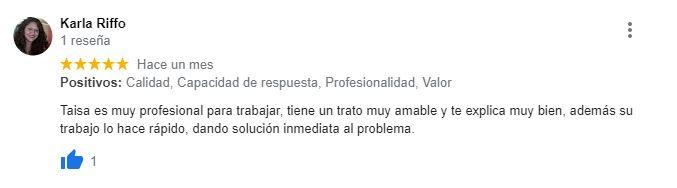 Taisa es muy profesional para trabajar, tiene un trato muy amable y te explica muy bien. Ademá u trabajo lo hace rápido, dando solución inmediata al problema.