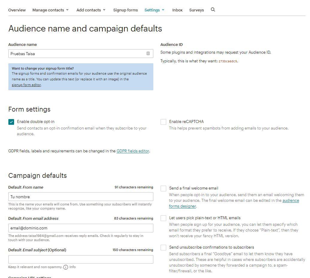 Crear lista de correo en MailChimp