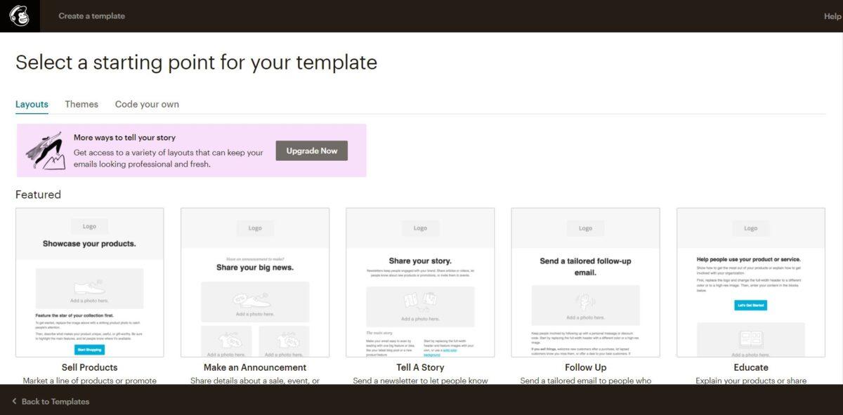Crear o gestionar plantillas de MailChimp