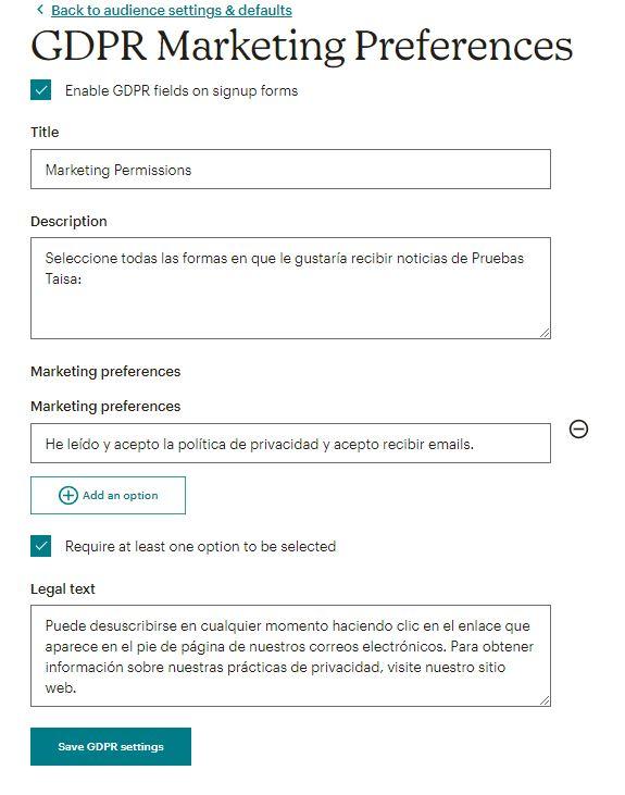 Configurar los campos GDPR de consentimiento y política de privacidad en MailChimp - Adaptar MailChimp al RGPD DSGVO.