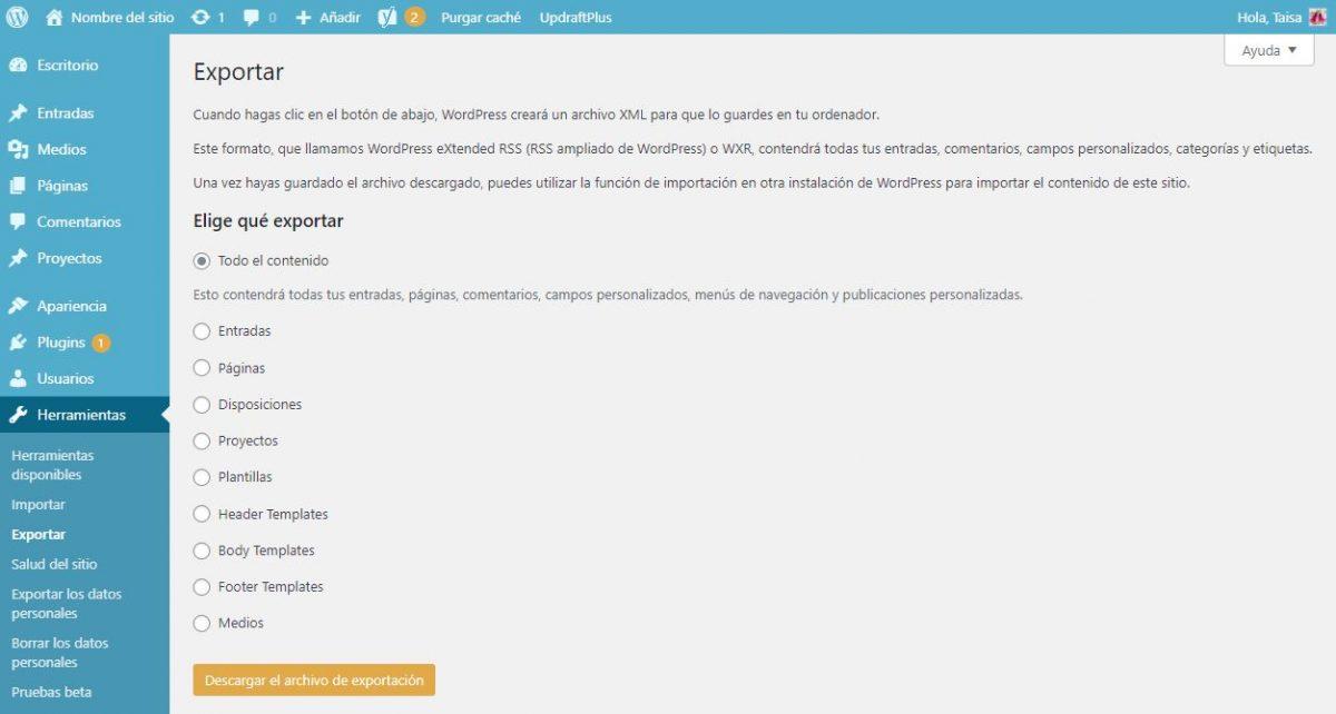 Exportar contenidos de WordPress para migrar