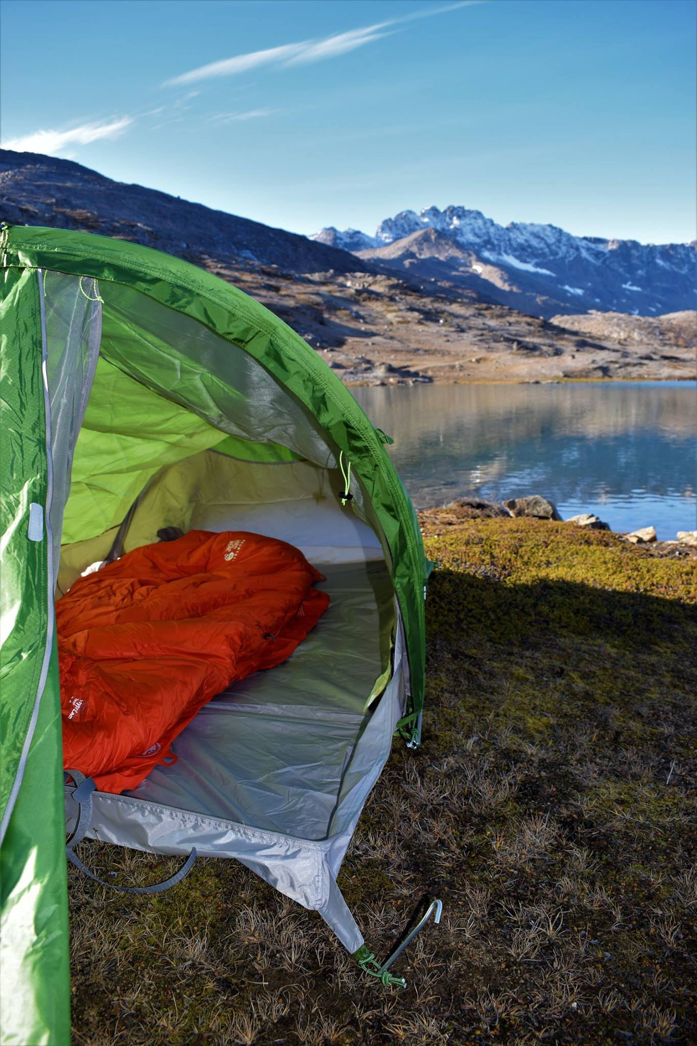 Look to the inner tent and view over lake