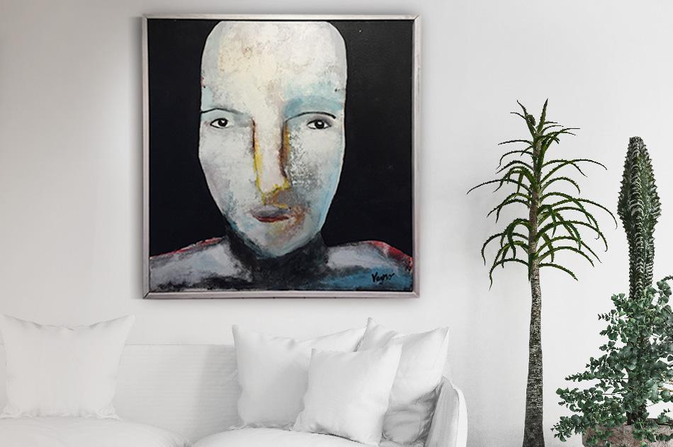 abstrakt stora tavlor ansikte akryl konst Tomas Vagner
