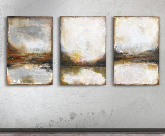 Abstrakt tavla landskap skog fjäll format 80x120 cm