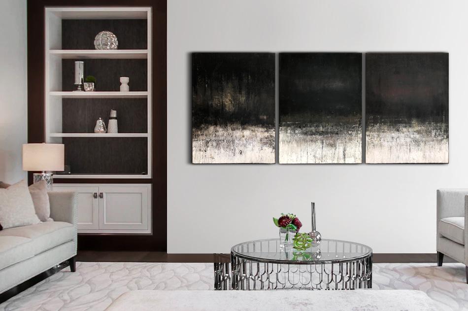 Abstrakt stor tavla vågor hav modern konst Tomas Vagner