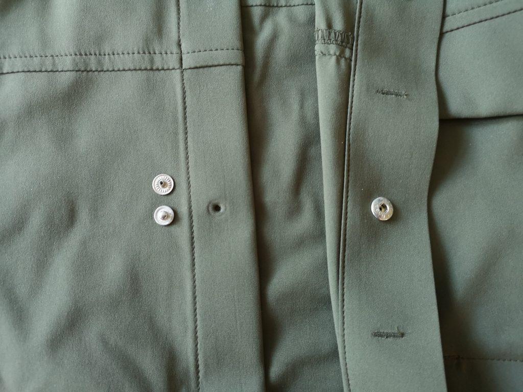 Broken snap button on the Arc'teryx Skyline shirt.