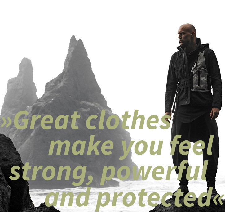 """Enfin Levé Michael van Diem interview quote: """"Great clothes make you feel strong, powerful and protected"""""""
