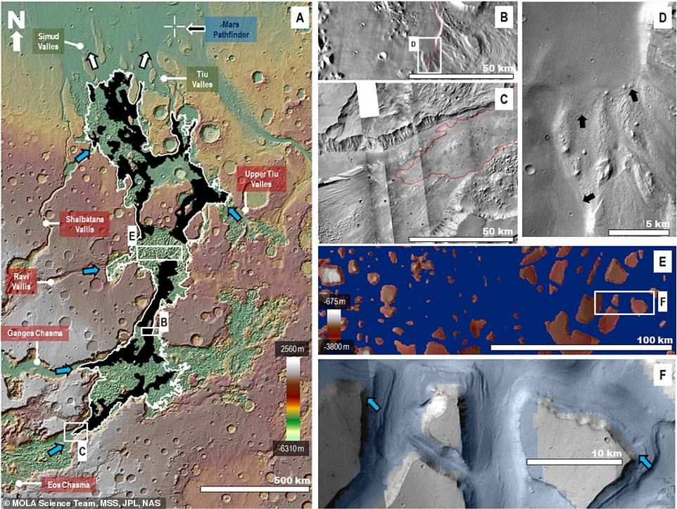 According to new simulations, the features seen in this area show signs of massive floods and an ancient sea. In the image above, black areas indicate smooth sedimentary mantle material