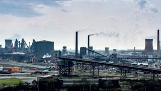 View of Scunthorpe steel plant