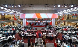 The newsroom in the BBC's Broadcasting House, in London.