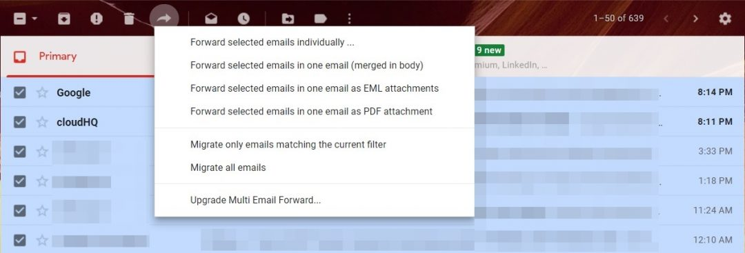 forward multiple emails options