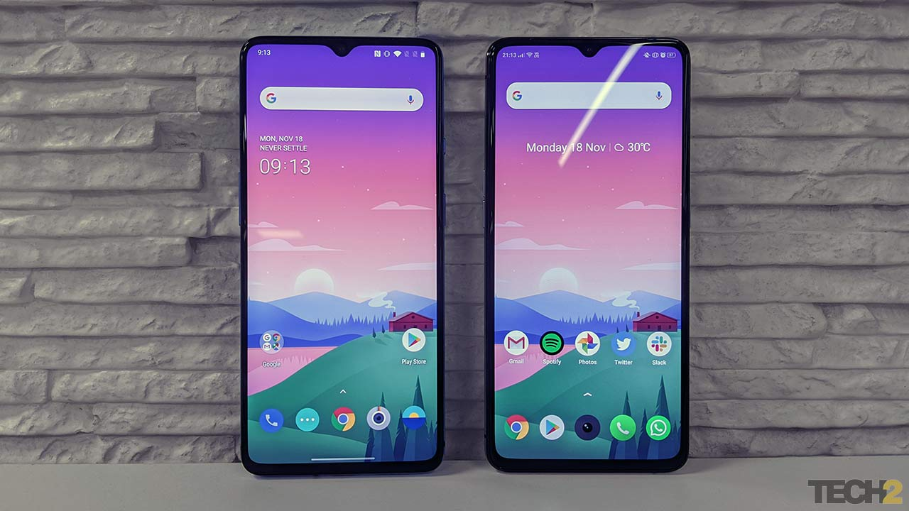 OnePlus 7T (left) and Realme X2 Pro (right). Image: tech2/Abhijit Dey