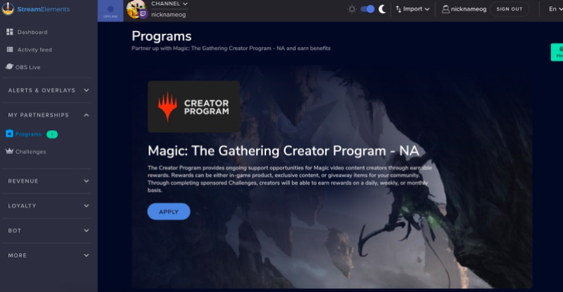 Wizards of the Coast is using StreamElements' Creator Activation Program.
