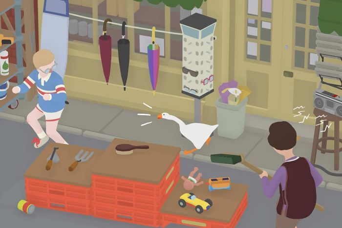 A game screenshot showing a cartoon goose honking and chasing a boy