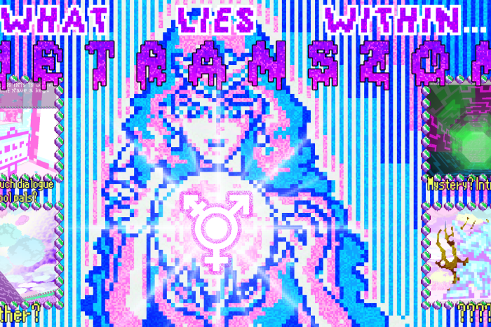 Fluro coloured still from a video game called The Trans Zone