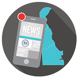 Graphic that represents delaware news on a mobile phone