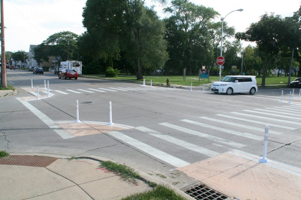 Pedestrian safety improvements at S. 13th St. and W. Harrison Ave. Photo by Jeramey Jannene.