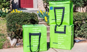 Amazon Fresh insulated grocery delivery bags in the US.