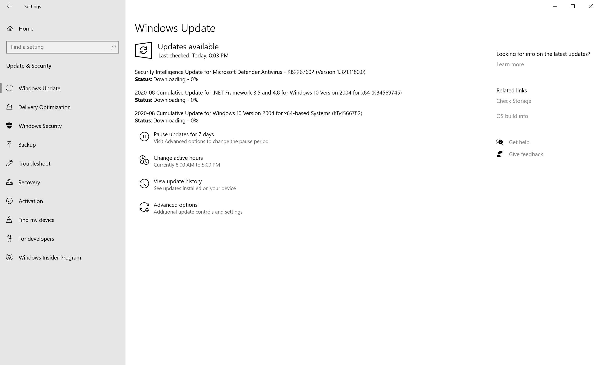 windows updates august 2020
