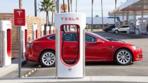 Tesla Super Charging station on Stockdale Hwy and the 5 fwy. Tesla Supercharger stations allow Tesla cars to be fast-charged at the network within an hour.