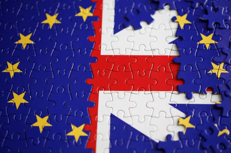 © Reuters. Puzzle with printed EU and UK flags