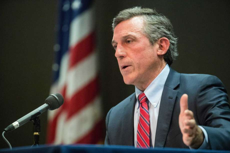 Delaware Gov. John Carney speaks during a briefing on the coronavirus pandemic, Tuesday, April 14, 2020, at the Carvel State Office Building in Wilmington, Del. Finding Republican candidates to run for office in solid-blue Delaware can sometimes be a challenge. But there's no shortage of GOP contenders hoping to unseat Carney this year. Six candidates are competing in the upcoming GOP gubernatorial primary election. (Jerry Habraken/The News Journal via AP) Photo: Jerry Habraken, AP / Copyright 2020 The Associated Press. All rights reserved.
