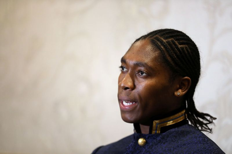 © Reuters. South African athlete Semenya speaks at a women's conference in Johannesburg