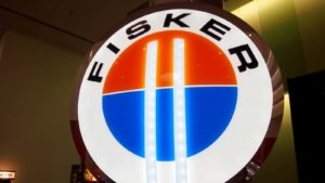 The Fisker logo hangs on display at the November 2011 International Auto Show.