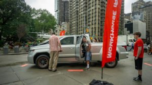 A Workhorse (WKHS) W-15 hybrid electric pickup truck on display at a branding event in Flatiron Plaza in New York.