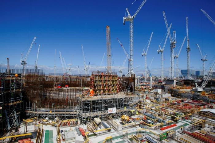 Cranes surround Reactor Unit Two on the construction project for Hinkley Point C nuclear power station in Somerset