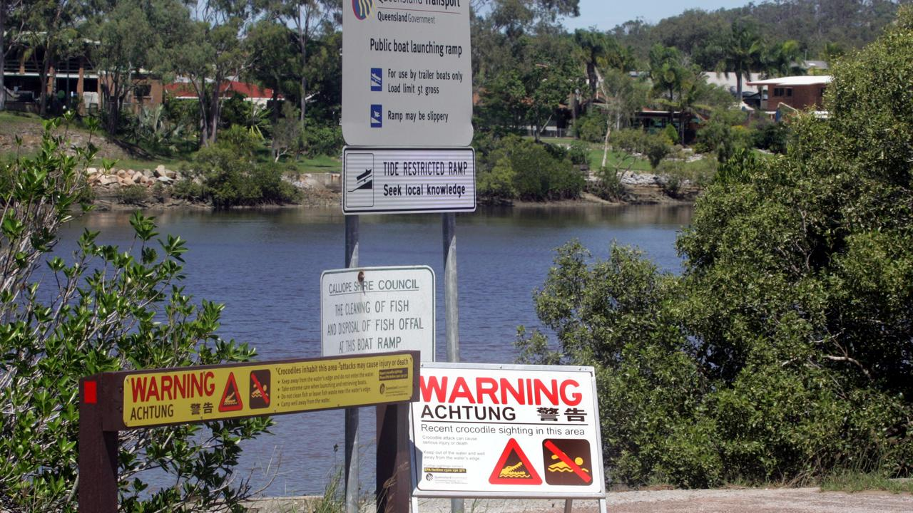 The signs at Tarcoola Drive boat ramp, Boyne Island, near Gladstone.