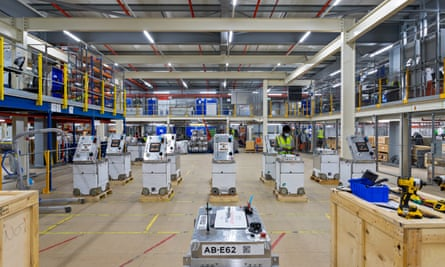 A robot maintenance area at Ocado's Erith warehouse – 1,050 humans work alongside their 1,800 metal colleagues.