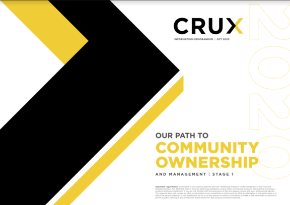 The cover of Crux's proposal for community ownership.