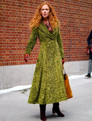 That green coat … Nicole Kidman in The Undoing.