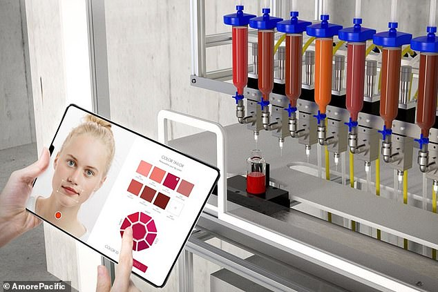 Users upload a photo and the Color Tailor app's artificial intelligence determines which shade of lipstick is best suited to their skintone. It then sends the info to the Lip Factory machine to create a bespoke tube that can be purchased
