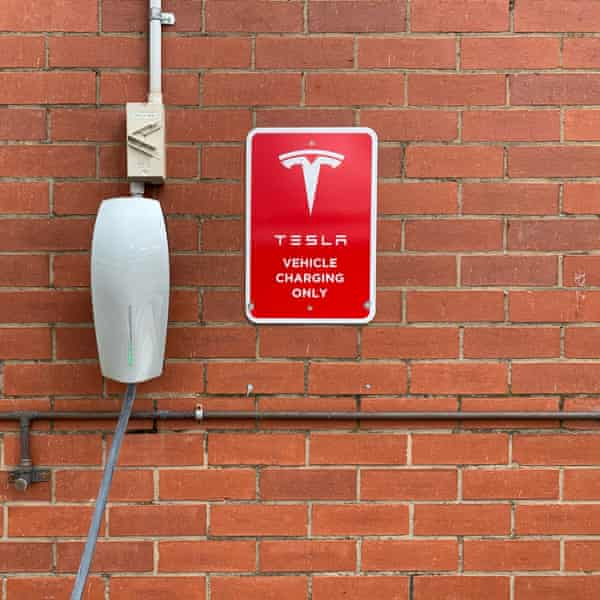 A Tesla charing station at Apollo Bay in Victoria
