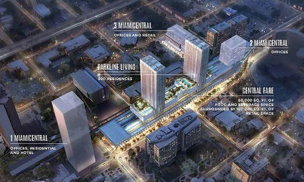 The MiamiCentral office towers are part of the six-block project that will feature 800-plus apartments, a retail center and Brightline's downtown Miami station.