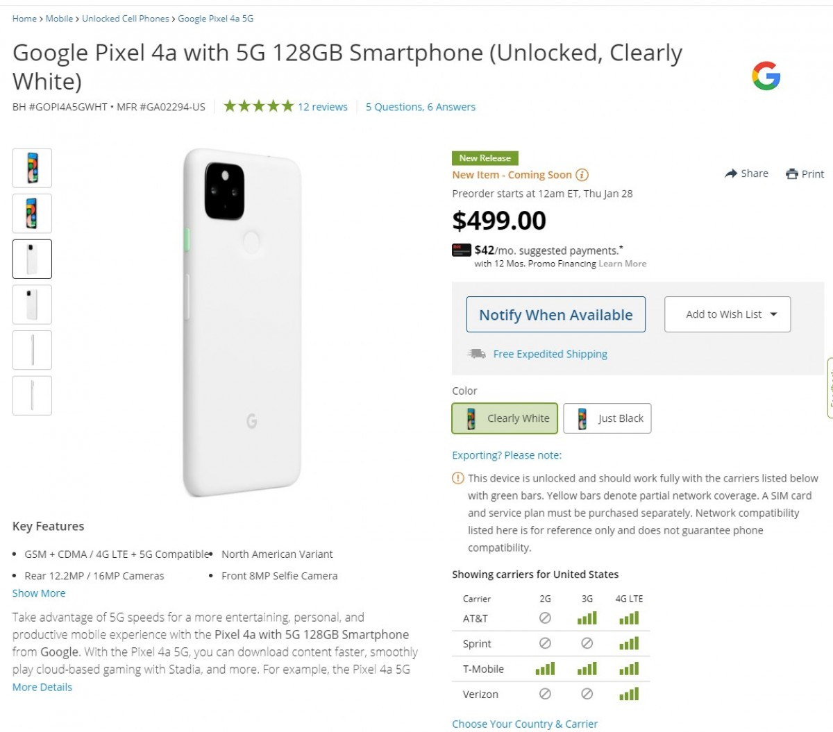 Clearly White unlocked Google Pixel 4a 5G variant arriving to the US soon