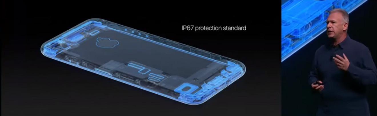 Phil Schiller introducing the water resistant iPhone 7 in 2016