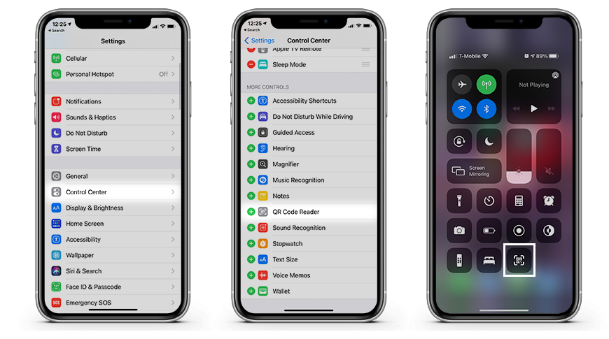 How to add a QR code scanner to Control Center