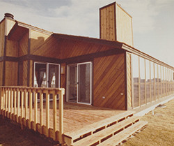 Wood building with wood deck