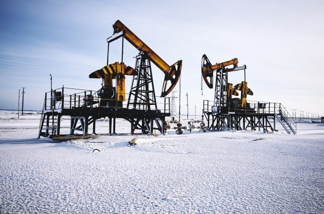 Oil rig, snow winter, oil pump