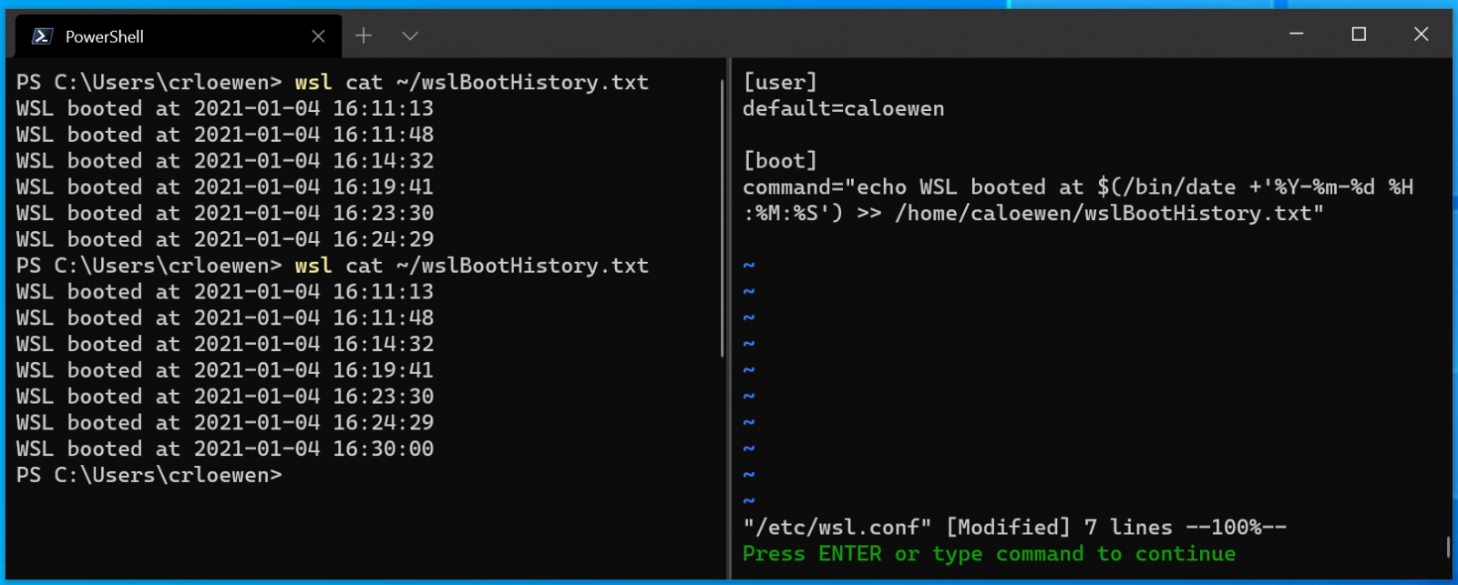 WSL startup commands