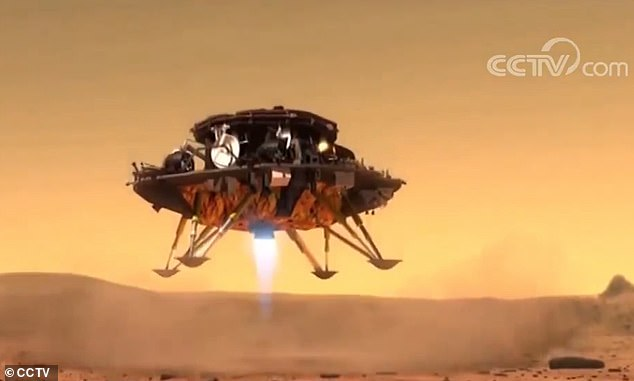 The Tianwen-1 spacecraft was carried by a Long March-5 rocket and is expected to reach the red planet in February. The animated picture shows an illustration of a rover being released by the Chinese 'Tianwen-1' spacecraft to explore the Martian surface