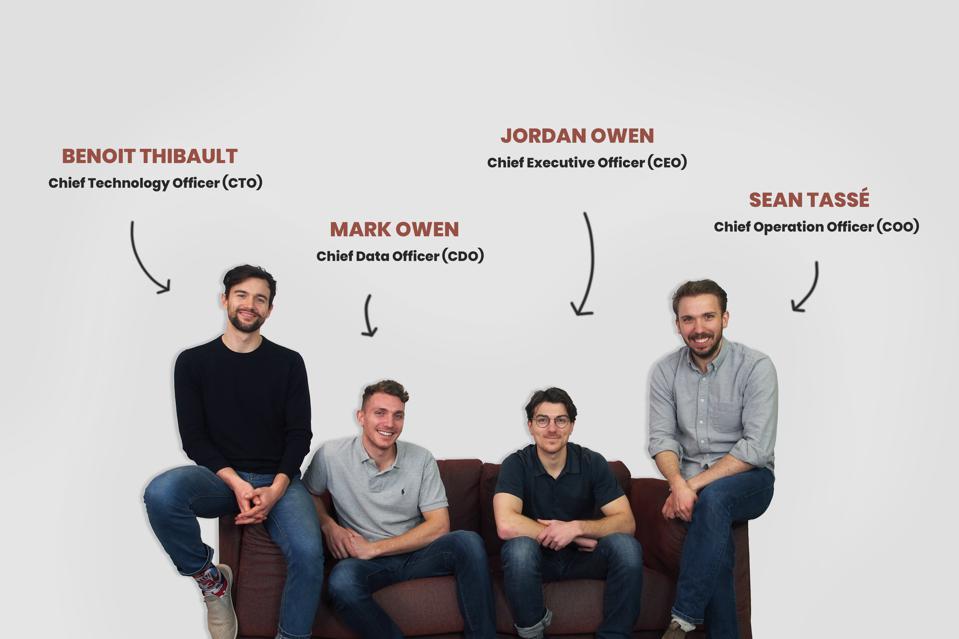 Benoit Thibault, Mark Owen, Jordan Owen, Sean Tassé sit on couch