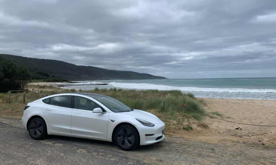 Oliver's rented Tesla on the beach near Port Fairy