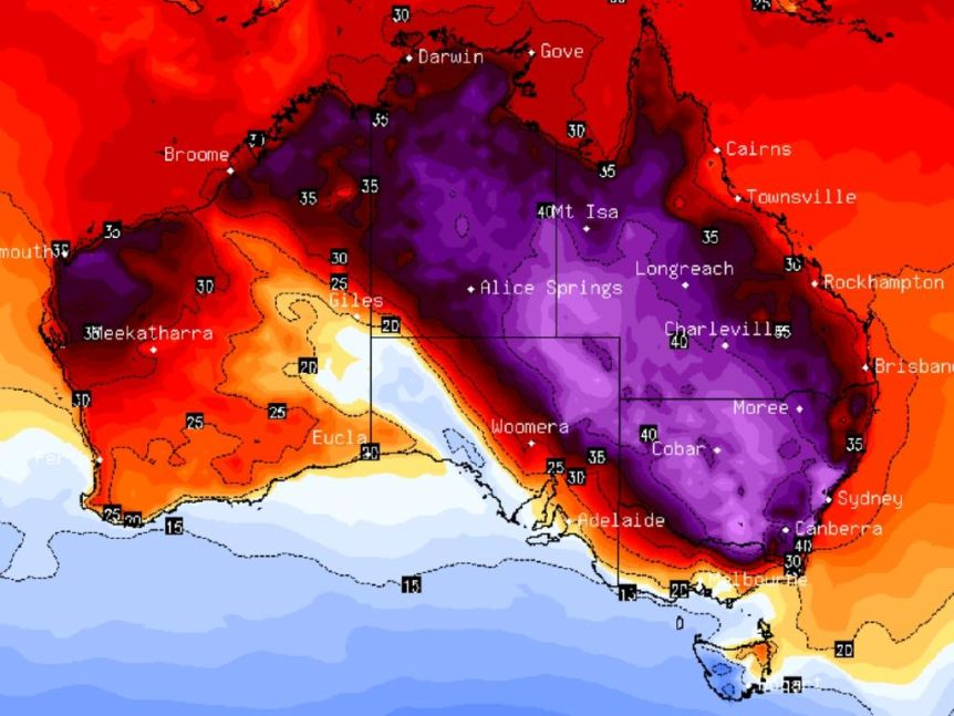 Map of daily average temperatures across Australia on 4 January 2020