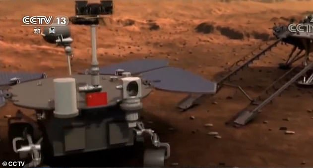 The spaceship's orbiter will fly around the planet while the lander will release the robotic rover to carry out patrol exploration and research, according to the scientist. The picture shows an animated illustration of the rover being released by the lander after the spacecraft lands