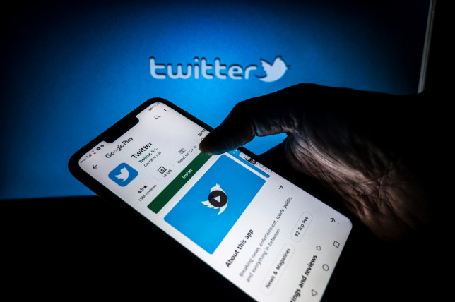 Twitter logo displayed on a phone screen in Tehatta, Nadia, West Bengal, India
